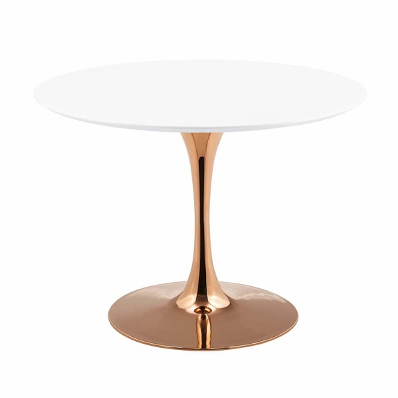 Lippa 40inch Round Dining Table in Rose White