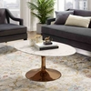 Lippa 42inch Oval-Shaped Coffee Table in Rose White