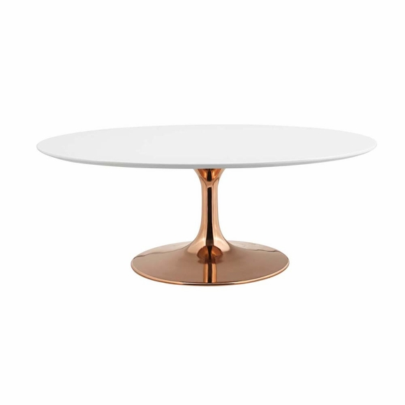 Lippa 42inch Oval-Shaped Coffee Table in Rose White MID-3251