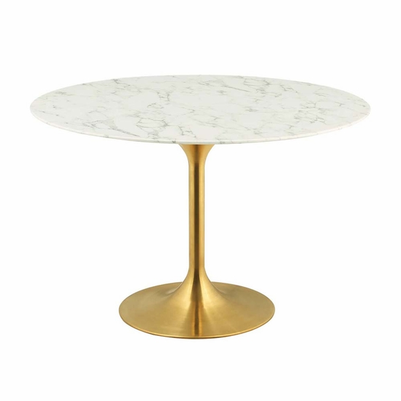 Lippa 47inch Round Dining Table in Gold White