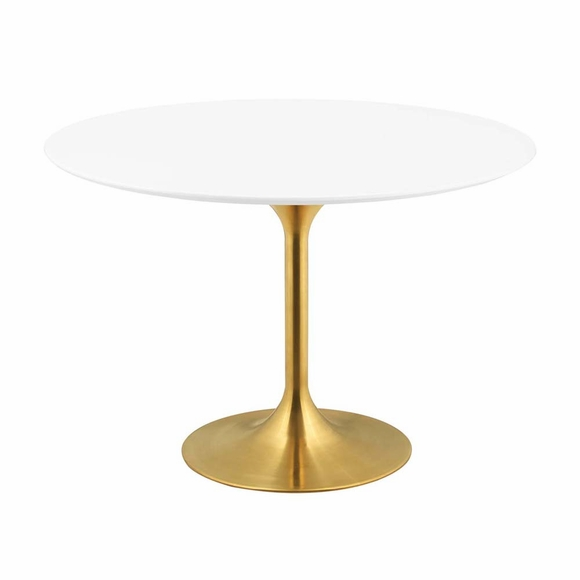 Lippa 47inch Round Dining Table in Gold White MID-3227
