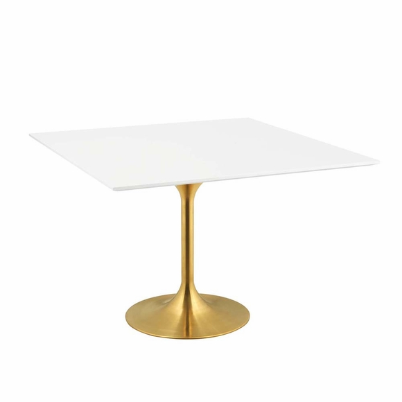 Lippa 47inch Square Dining Table in Gold White