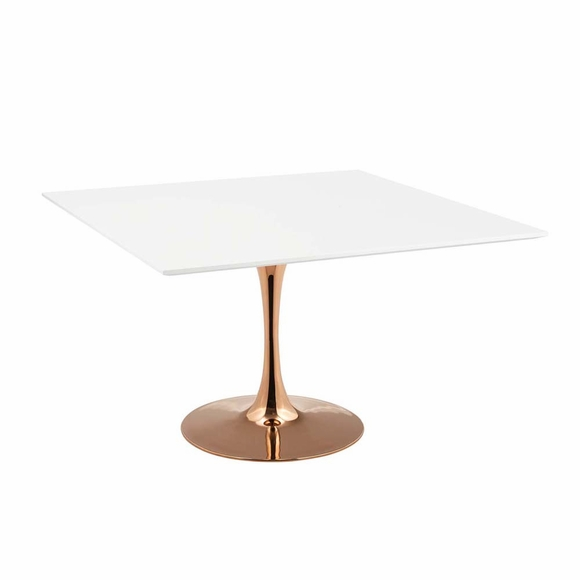 Lippa 47inch Square Dining Table in Rose White