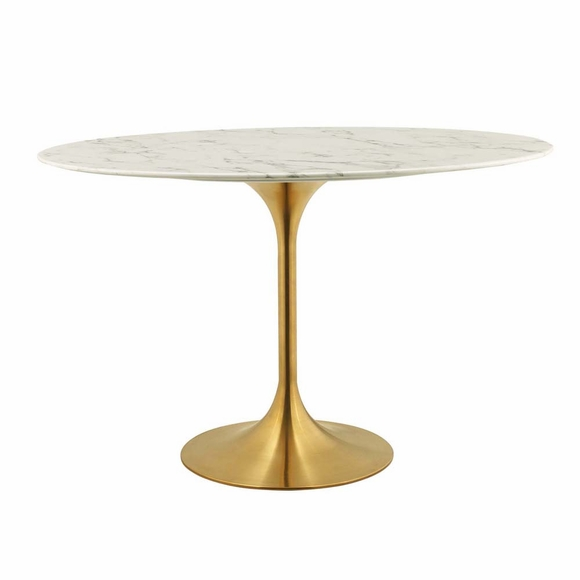Lippa 48inch Oval Dining Table in Gold White