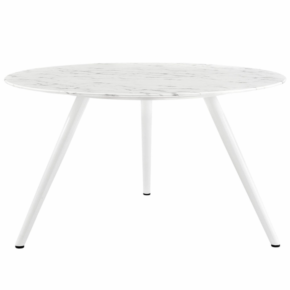 Lippa 54inch Round Artificial Marble Dining Table with Tripod Base in White