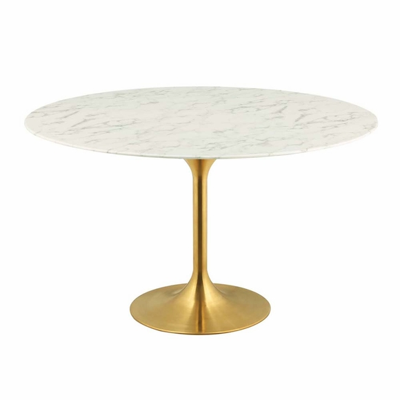 Lippa 54inch Round Dining Table in Gold White