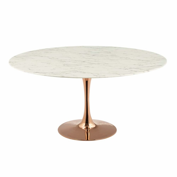 "Lippa 60"" Round Dining Table in Rose White"