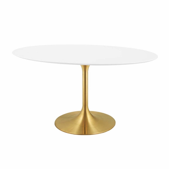 Lippa 60inch Oval Dining Table in Gold White