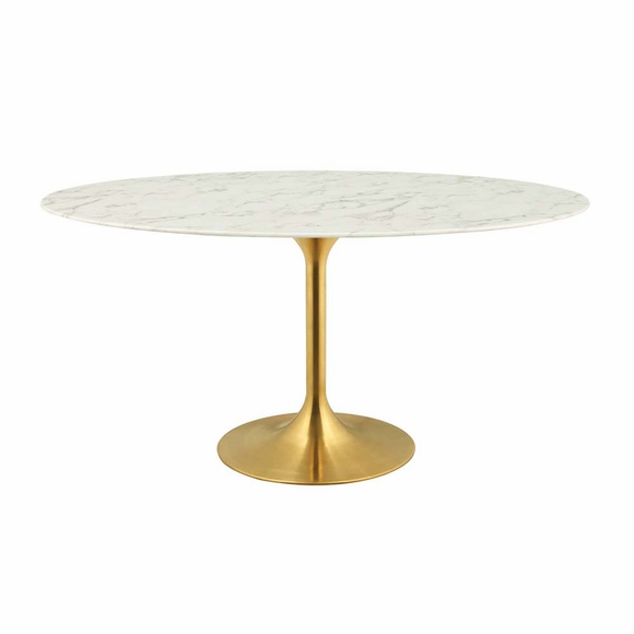 Lippa 60inch Oval Dining Table in Gold White MID-3236