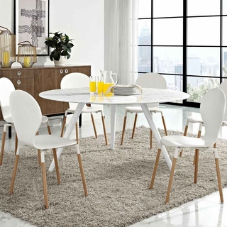 Lippa 60inch Round Artificial Marble Dining Table With Tripod Base In White Modern In Designs