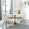 Lippa 60inch Round Dining Table in Gold White