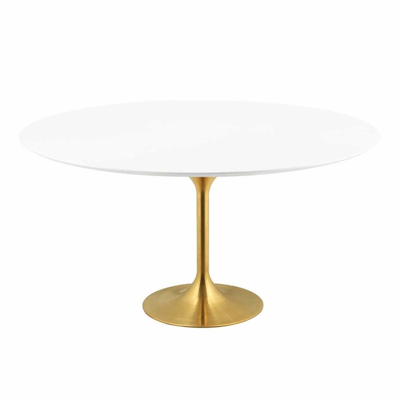 Lippa 60inch Round Dining Table in Gold White MID-3229