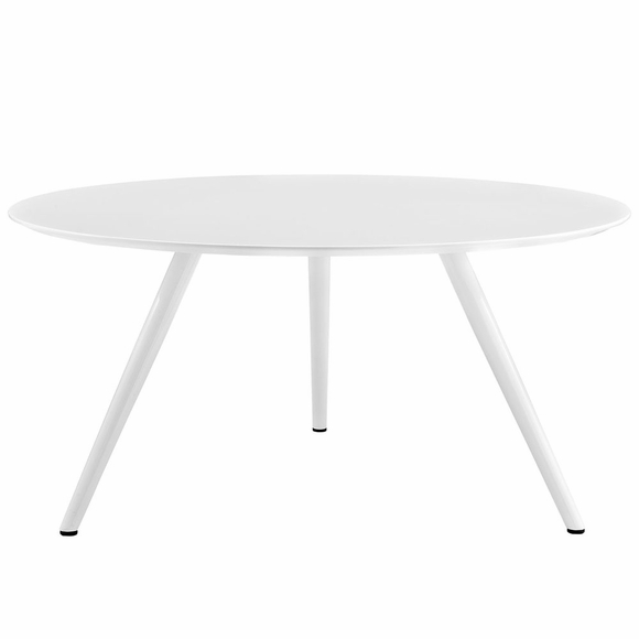 Lippa 60inch Round Wood Top Dining Table with Tripod Base in White