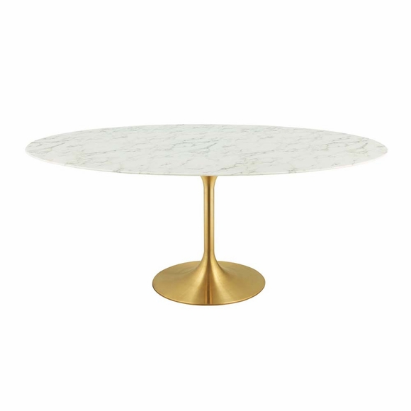 Lippa 78inch Oval Dining Table In Gold White Modern In