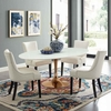 Lippa 78inch Oval Dining Table in Rose White MID-3259
