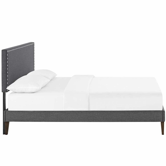 Swan Modern Platform Bed: Macie Full Fabric Platform Bed With Squared Tapered Legs