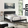Macie King Vinyl Platform Bed with Squared Tapered Legs