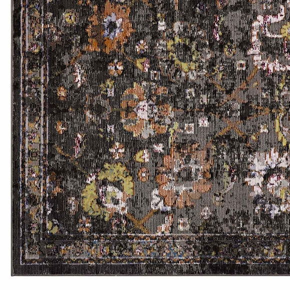 Minu Distressed Floral Lattice 8x10 Area Rug Modern In