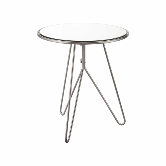 Mirrored End Table in Silver