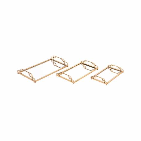 Mirrored Trays Set of 3 in Gold