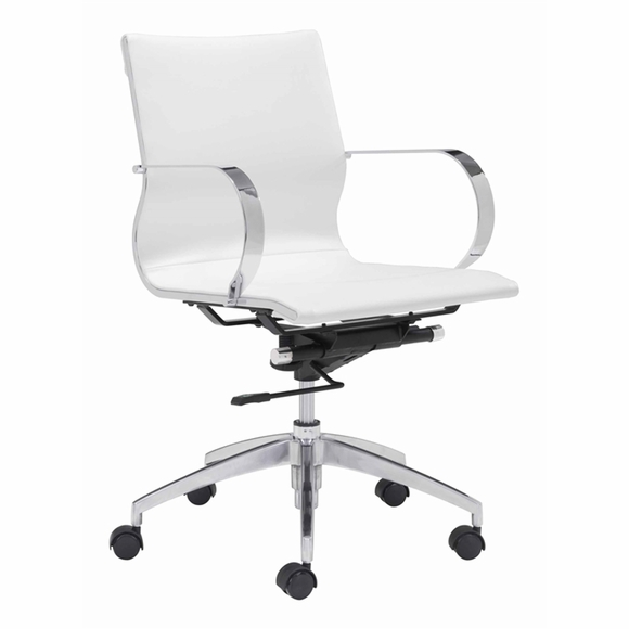 Modern Conference Office Chair Mid Back - White