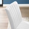 Motivate Channel Tufted Upholstered Faux Leather Dining Chair Set of 2 in White