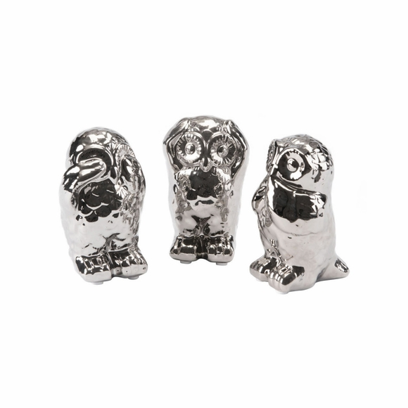 Owls Set of 3 in Silver