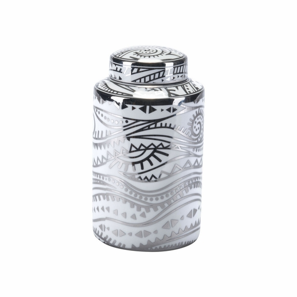 Palma Small Jar in White & Silver