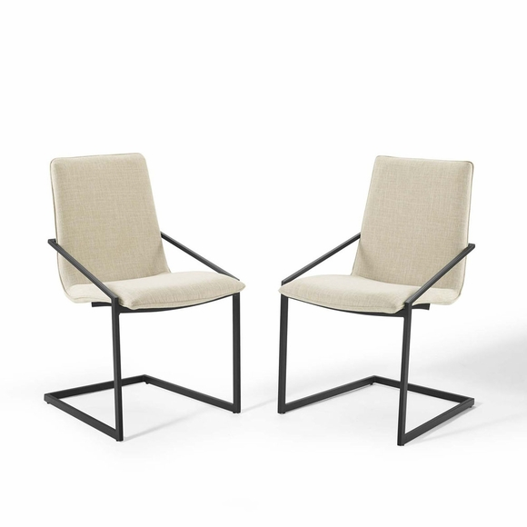 Pitch Dining Armchair Upholstered Fabric Set of 2