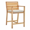 Portsmouth Karri Wood Outdoor Patio Bar Stool in Natural Taupe