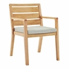 Portsmouth Karri Wood Outdoor Patio Dining Armchair in Natural Taupe