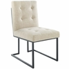 Privy Black Stainless Steel Upholstered Fabric Dining Chair