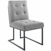 Privy Black Stainless Steel Upholstered Fabric Dining Chair Set of 2
