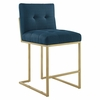 Privy Gold Stainless Steel Upholstered Fabric Counter Stool