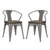 Promenade Bamboo Dining Chair Set of 2 in Gunmetal