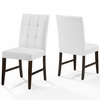 Promulgate Biscuit Tufted Upholstered Faux Leather Dining Side Chair Set of 2 in White