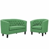 Prospect 2 Piece Upholstered Fabric Loveseat and Armchair Set