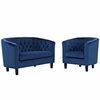 Prospect 2 Piece Velvet Loveseat and Armchair Set