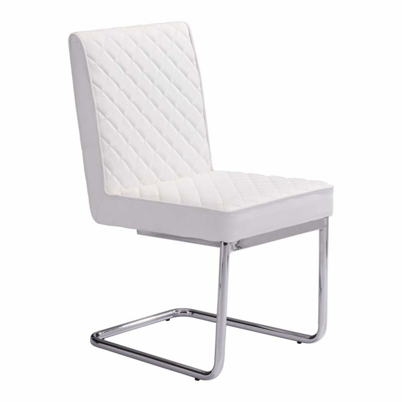 Quilt Armless Dining Chair Set of 2 in White