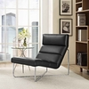Reach Upholstered Vinyl Lounge Chair in Black