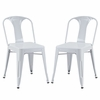 Reception Dining Side Chair Set of 2 in White