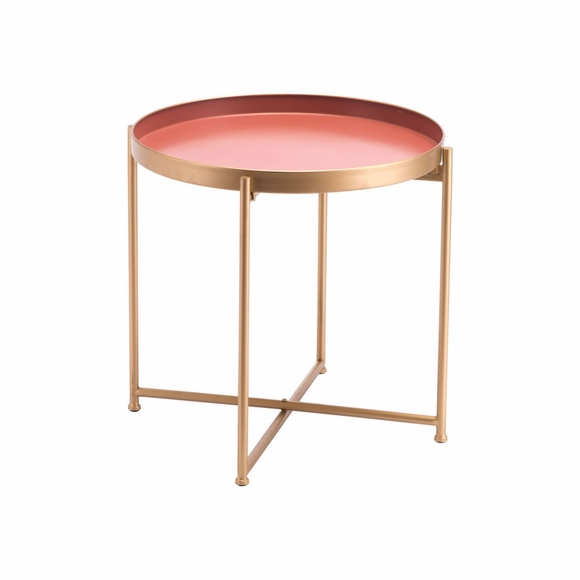 Red Short End Table in Pink