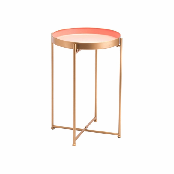 Red Tall End Table in Pink