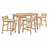 Riverlake 5 Piece Outdoor Patio Ash Wood Bar Set in Natural Taupe