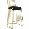 Rivulet Gold Stainless Steel Upholstered Velvet Bar Stool