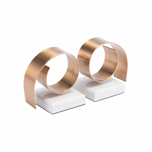 Rizz Bookends in White & Gold