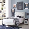 Ruthie Twin Vinyl Platform Bed with Squared Tapered Legs