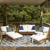 Saratoga 5 Piece Outdoor Patio Teak Set in Natural White