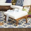 Saratoga Outdoor Patio Teak Ottoman in Natural White