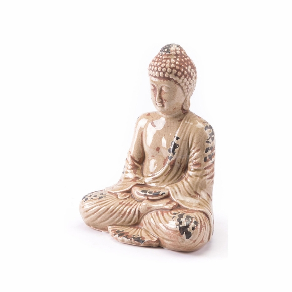 Sitting Buddha in Distressed Taupe